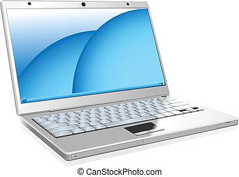blanc, ordinateur portable