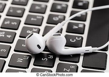 blanc, ordinateur portable, keyboard., écouteurs