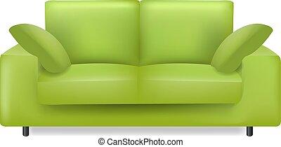 blanc, oreillers, fond, sofa vert, isolé