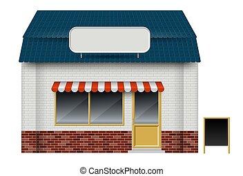 blanc, ou, devant, fond, vue, vecteur, magasin, illustration, café