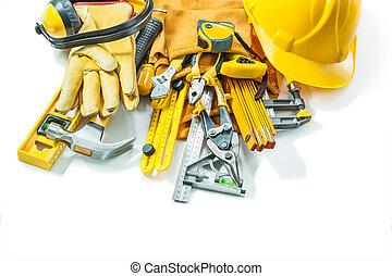 blanc, outils, ensemble, construction, fond, isolé