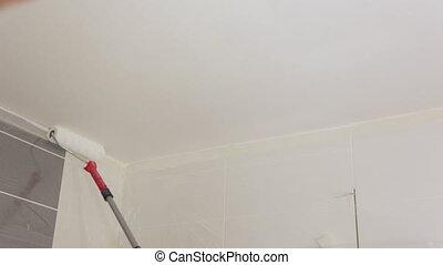 blanc, ouvrier, peinture, peinture, plafond