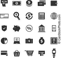 blanc, paiement, fond, icônes