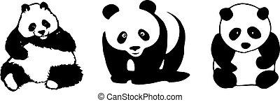 blanc, panda, fond, icône
