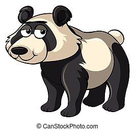 blanc, panda, fond, triste