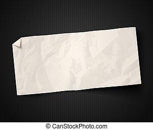 blanc, papier, arrière-plan noir