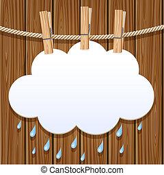 blanc, papier, clothesline, nuage