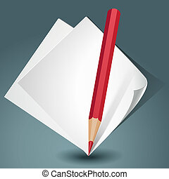 blanc, papier, crayon rouge