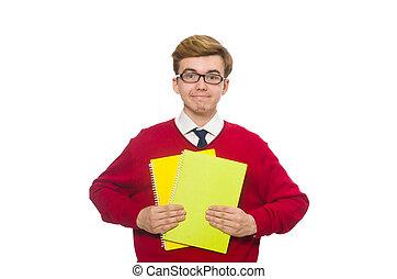 blanc, papier, isolé, étudiant