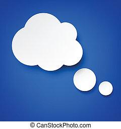 blanc, papier, nuages, blue.