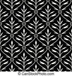 blanc, papier peint, noir, seamless, damassé