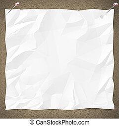 blanc, papier, tableau affichage, vide