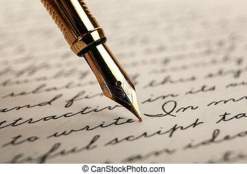 blanc, papier, texte, fond, stylo, noircissez encre fontaine