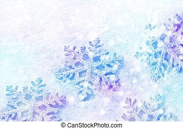 blanc, pelucheux, flocons neige, sur, snow., hiver, noël, arrière-plan.