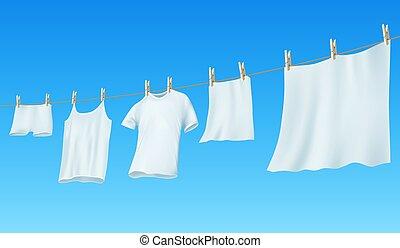 blanc, pendre, propre, corde, vêtements, lin