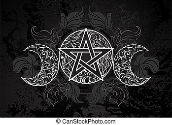 blanc, pentagram, feuilles