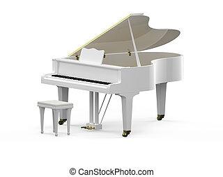 blanc, piano, grandiose