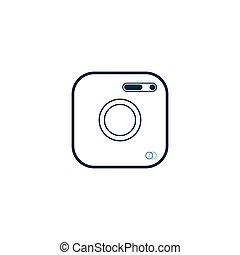 blanc, plat, ui., logo, symbole, isolé, icône, arrière-plan., toile, app, appareil photo, style, site, conception