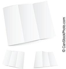 blanc, plié, paper., zigzag, vide