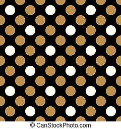 blanc, points, noir, polka, fond, doré