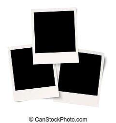 blanc, polaroids, fond, vide