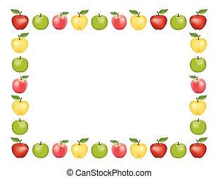 blanc, pomme, fond, cadre