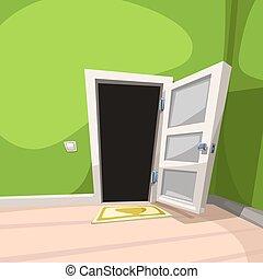 blanc, porte, ouvert, salle, vert