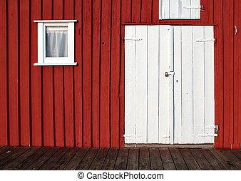 blanc, porte, sur, mur rouge
