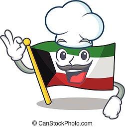 blanc, porter, chapeau, caractère, déguisement, koweït, chef cuistot, drapeau, dessin animé
