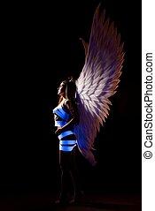 blanc, porter, profil, belle femme, ailes, coup