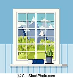 blanc, pot, style., plante, plastique, cadre, fenêtre, rebord fenêtre, plat, salle, dessin animé, livre