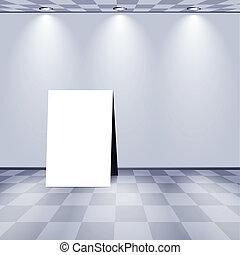blanc, publicité, stand, salle