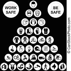 blanc, pyramide, santé sécurité, icône, collection