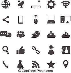 blanc, réseau, fond, icônes