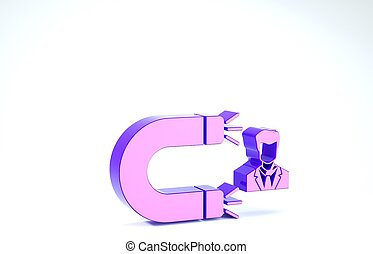 blanc, rétention, homme, service., magnet., illustration, client, icône, soutien, 3d, render, attirer, pourpre, arrière-plan., isolé