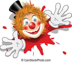 blanc, redhaired, gants, clown