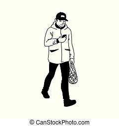 blanc, regarder, ligne, recettes, style., vecteur, sien, simple, smartphone., illustration, main, supermarché, monochrome, marche, fond, dessiné, paquet, croquis, fruit, homme, adulte, art