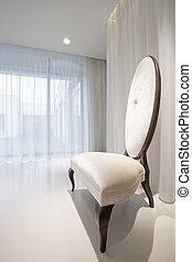 blanc, retro, chaise