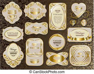 blanc, retro, or, étiquette