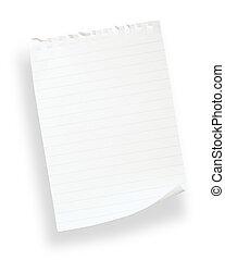 blanc, revêtu, paper(with, coupure, path)