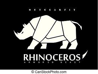blanc, rhinoceros., rhinocéros