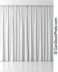 blanc, rideaux