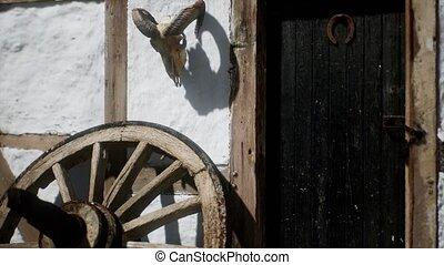 blanc, roue, vieux, bois, maison, noir, porte