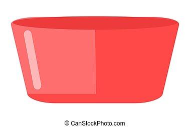 blanc rouge, illustration., icône, bol, eau, fond, bassin, nourriture, dessin animé, isolé, plastique