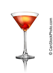 blanc rouge, isolé, cocktail, martini