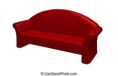 blanc rouge, isolé, fond, divan