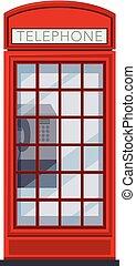 blanc rouge, téléphone, fond, cabine