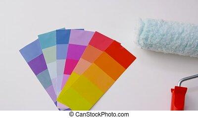 blanc, rouleau, colorez palette, peinture, fond