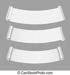 blanc, rouleau, papier, vecteur, tordu, bannières