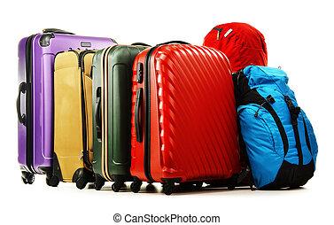 blanc, rucksacks, isolé, valises